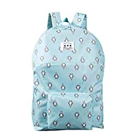Women Girls Canvas Backpack Rucksack School Shoulder Bag Casual Daypack Satchel Penguin Fox Squirrel Prints (Blue)