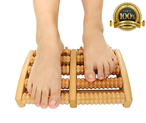 Dual Foot Massager Roller Wooden, Relax Relieve Plantar Fasciitis, Heel Stress & Foot Arch Pain, Easy Foot Comfort Tool, Perfect Gift for Acupressure, Reflexology & Neuropathy (Large)