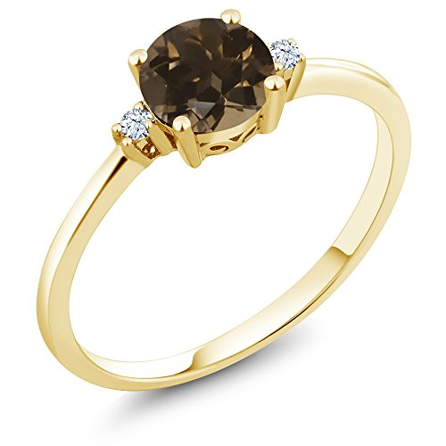 10K Yellow Gold Engagement Solitaire Ring set with 0.83 Ct Round Brown Smoky Quartz and White Created Sapphires (Quartz Vintage Ring)