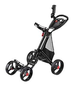 CaddyTek CaddyCruiser ONE One-Click Folding 4 Wheel Golf Push Cart (Black)