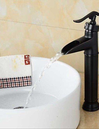 Ling@ Basin mixer Bathroom Oil rubbed Bronze Waterfall Single Handle Single Hole Basin Faucet