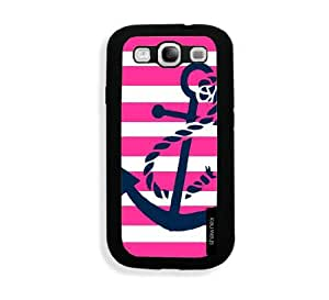 Galaxy S3 Case - Galaxy S III Case - Springink Pink Nautical Stripes And Anchor Samsung Galaxy i9300 Case Snap On Case