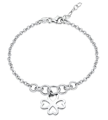 (Amberta 925 Sterling Silver Adjustable Ankle Bracelet - 2.4 mm Rolo Chain Anklet with Large Hoops and Shamrock Flower Tag - 9
