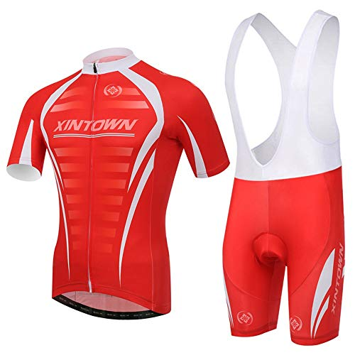 Micye Summer Outdoor Men's Profession Cycling Wear High Elasticity Close-Fitting Strap Cycling Clothes Set with 3D Pants Pad for Bike Road Race Long Distance Ride (Size : L) (Airless Bicycle Tires That Never Go Flat)