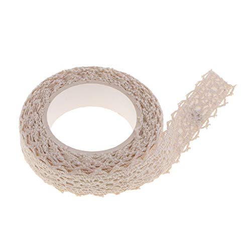 B Blesiya Decorative Craft Tapes Masking Lace Tapes Fabric Washi Tape Ribbon Self Adhesive, Beige, 2 Yards x 15mm Roll for for Album Scrapbooking Travel Journal