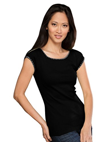 Cap Sleeve Womens Shell (Kavio! Junior Seashell Stitch Boat Neck Cap Sleeve Top Black M)