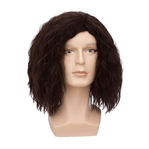 BERON Men Fluffy Short Curly Brown Wig Halloween Cosplay Wig Anime Costume Wig