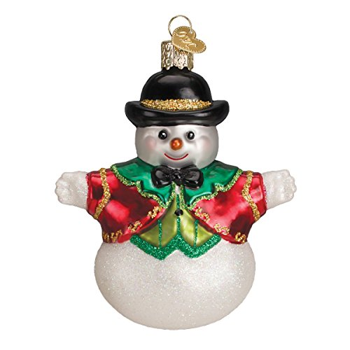 Old World Christmas Bowler Hat Snow Boy Glass Blown Ornament