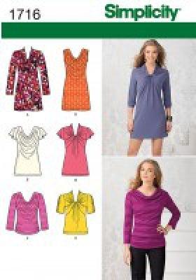 Tunique et Haut en Jersey avec choix de devants Simplicity S7635.P5 Patron de Couture Jeune Femme Mini-Robe