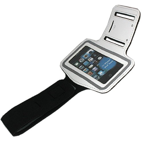 White ASleek Gym Sport Running Armband Case for iPhone 3G//3GS//4//4S