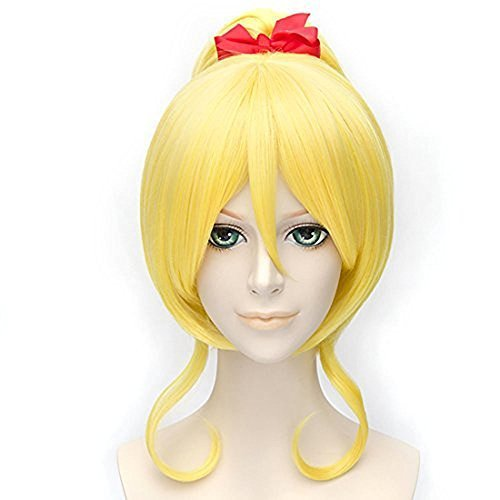 Anogol Hair Cap+Love Live  Eli Ayase Cosplay Wig Clip Ponytail Hair Wigs DM-497 by Anogol
