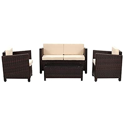 Wisteria Lane Outdoor Patio Furniture Set, 5 PieceSectional Sofa All Weather Wicker Chair Loveseat Glass Table Conversation Set,Brown - Modern 4-Piece Set consists of 1 Loveseat + 2 Armchairs + 1 Coffee Table + 1 Tempered Glass Table Top + 8 Cushions (Shipped in THREE boxes) Strong galvanized steel frame,hand woven PE rattan can withstand changeable weather,give you a weather resistant set that will last your for years to come Cushions filled with thick sponge for optimal comfort and relaxation.Zippered polyester covers which are removable for easy cleaning - patio-furniture, patio, conversation-sets - 41BcWUOUPIL. SS400  -