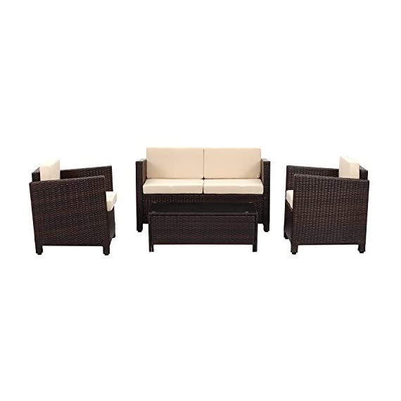 Wisteria Lane Outdoor Patio Furniture Set, 5 PieceSectional Sofa All Weather Wicker Chair Loveseat Glass Table Conversation Set,Brown - Modern 4-Piece Set consists of 1 Loveseat + 2 Armchairs + 1 Coffee Table + 1 Tempered Glass Table Top + 8 Cushions (Shipped in THREE boxes) Strong galvanized steel frame,hand woven PE rattan can withstand changeable weather,give you a weather resistant set that will last your for years to come Cushions filled with thick sponge for optimal comfort and relaxation.Zippered polyester covers which are removable for easy cleaning - patio-furniture, patio, conversation-sets - 41BcWUOUPIL. SS570  -
