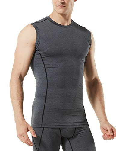 TM-MUA05-ZDG_Large Tesla Men's R Neck Sleeveless Muscle Tank Dry Compression Baselayer MUA05