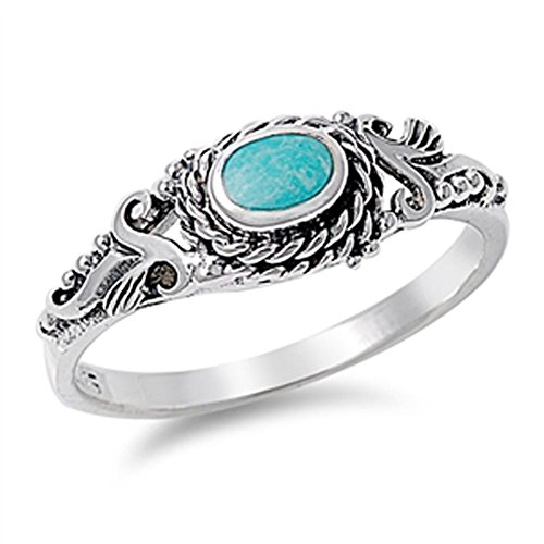 (Women's Simulated Turquoise Wholesale Vintage Ring New 925 Sterling Silver Band Size 7 )