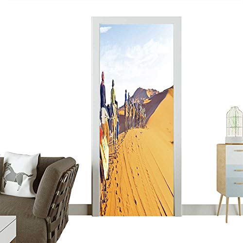 Homesonne Decorative Door Decal Camel Caravan Going Through The Sand Dunes in The Sahara Stick The Picture on The Door W38.5 x H79 INCH