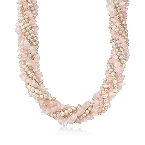 (Ross-Simons Cultured Pearl and Rose Quartz Chip Torsade Necklace With Sterling Silver)