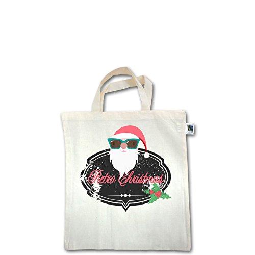 Weihnachten & Silvester - Retro Christmas Weihnachstmann - Unisize - Natural - XT500 - Fairtrade Henkeltasche / Jutebeutel mit kurzen Henkeln aus Bio-Baumwolle