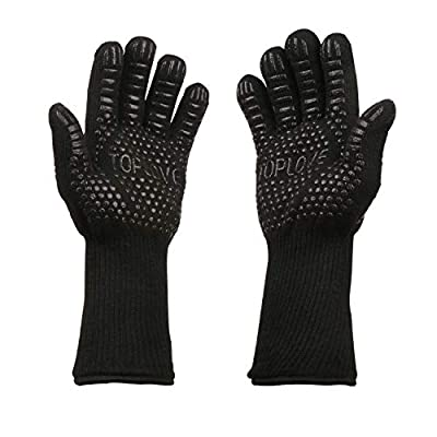 ASKALI BBQ Cooking Gloves Heat Insulated Grill Glove - Kitchen Potholders Protective Oven Mitt, 932℉ Extreme Heat Resistant Grilling Glove for Baking - Heatproof Adiabatic Silicone Glove, 1 Pair