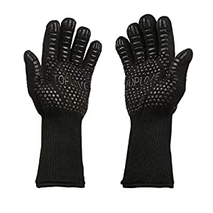 BBQ Cooking Gloves Heat Insulated Grill Glove – Kitchen Potholders Protective Oven Mitt, 932℉ Extreme Heat Resistant Grilling Glove for Baking – Heatproof Adiabatic Silicone Glove, 1 Pair