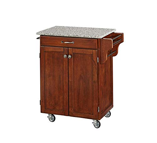 (Wood & Style Furniture Cherry 2 Door Cabinet Kitchen Cart with Salt and Pepper Granite Top by Home Office Commerial Heavy Duty Strong Décor)