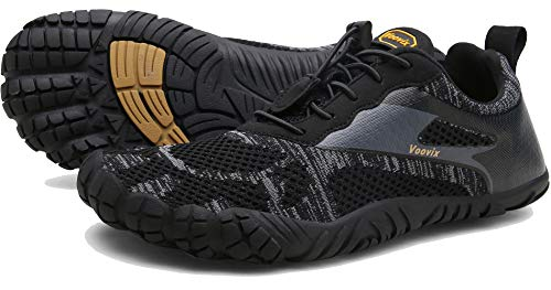 Voovix Men's Minimalist Trail Running Barefoot Shoes Wide Women's Cross-Trainer Shoe Wide Toes Box(Black,45)