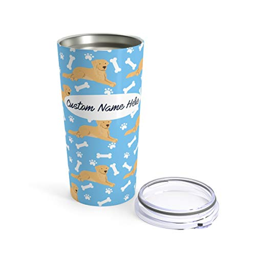(Custom Golden Retriever 20oz Travel Mug - Personalized Stainless Steel Insulated Tumbler Cup for Dog Lovers Warm Cold Drinks Coffee Beer Gifts for Men)