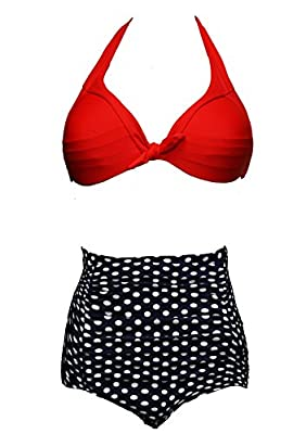 Bslingerie Ladies Retro Vintage Push Up High Waisted Bikini Swimsuit Plus Size