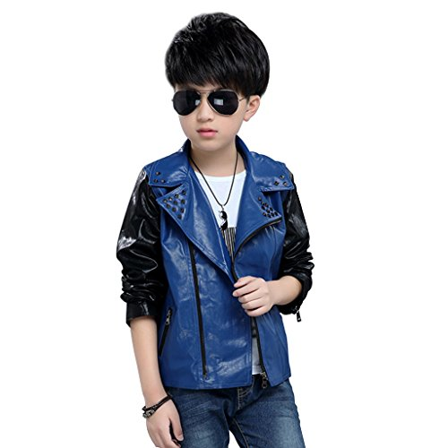 [Fairylinks Unisex Lapel Faux Leather Motocycle Jacket Full Zips UP 50s ROCK STYLE with Rivets] (Child Straight Jacket Costume)