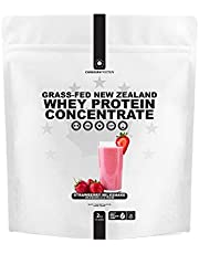 Canadian Protein Grass-Fed New Zealand Whey Concentrate 24g of Protein   2 kg of Strawberry Milkshake Flavoured Low Carb Keto Friendly Workout Recovery Drink   Undenatured Whey Protein Shake