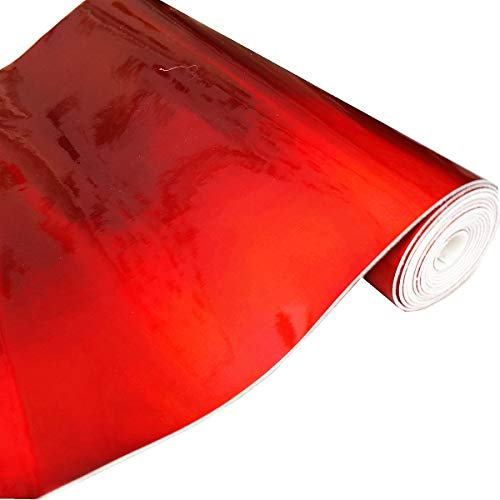 ZAIONE Hologram Mirrored Faux PU Leather Fabric 8x 53 (21cm x 135cm) Roll Colorful Metallic Holographic Vinyl Fabric Synethic Leather for Shoes Bag Bow Earrings Making DIY Craft(Red)