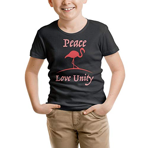 - COOL FAMILY Flamingo Peace Love Unity Black Children's Short Sleeve Cotton Mesh FunnyOrganic