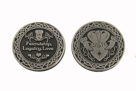 "TEN (10) Pewter CLADDAGH Pocket Tokens LOVE Friendship & LOYALTY - 1"" Metal Coins - INSPIRATIONAL Gift - IRISH BLESSINGS KEEPSAKE"