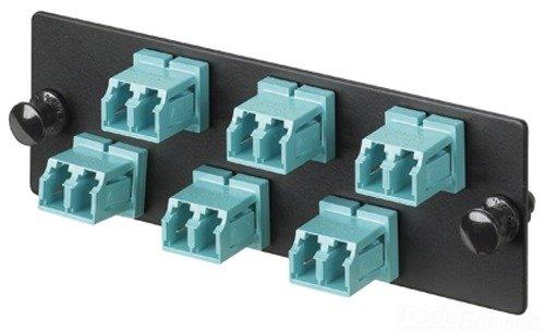Panduit FAP12WAQDLC Multi-Mode 12-Port Fiber Adapter Panel with Phosphor Bronze Split Sleeve, Aqua