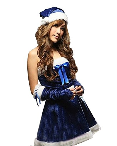 Fashion Queen Special Blue Sexy Elf Santa Dress Nightclub Girl Christmas Party Costume (One Size, Blue)