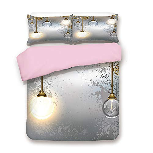 Pink Duvet Cover Set,Queen Size,Steampunk Antique Composition Brass Fastening Round Figures Print Decorative,Decorative 3 Piece Bedding Set with 2 Pillow Sham,Best Gift For Girls Women,Gold Grey White ()