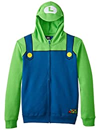 Nintendo Luigi Bill Men's Green Zip-Up Costume Hoodie