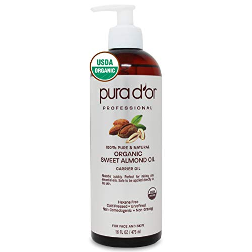 PURA D'OR Organic Sweet Almond Oil (16oz) Certified Organic 100% Pure & Natural Hexane Free Soothing Vitamin E Oil for…
