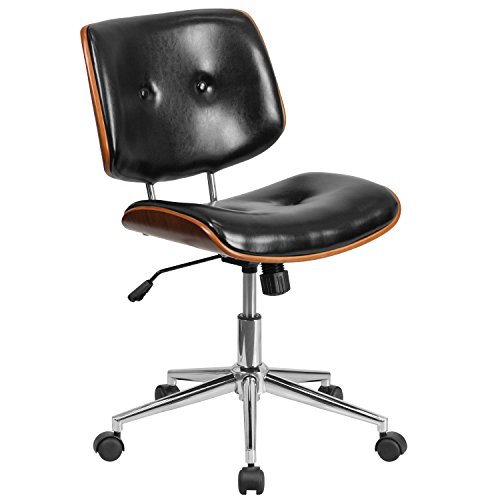 Flash Furniture Mid-Back Black Leather Ergonomic Wood Swivel Task Chair