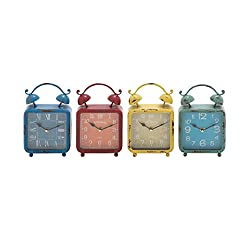 Benzara 92213 The Distressed But Colourful Metal Desk Clock, Assorted