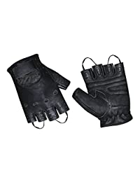 Prime Sports Men's Leather Fingerless Fashion Driving Gloves (Black, Medium)