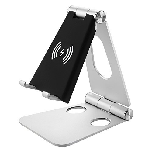 NEXGADGET Wireless Charger, 2 in 1 Aluminium Cradle, Holder, Foldable Wireless Charging Stand for iPhone X/ 8 / 8 Plus, Samsung Galaxy S9/S9+/S8/S8+ and All Qi-Enabled Devices