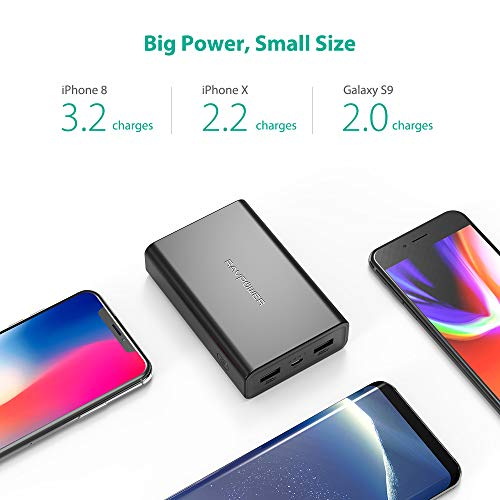 Portable Charger RAVPower 10000mAh Power Bank, Ultra-Compact Battery Pack with 3.4A Output, Dual iSmart 2.0 USB Ports, Portable Battery Charger Compatible with Iphone, iPad and More