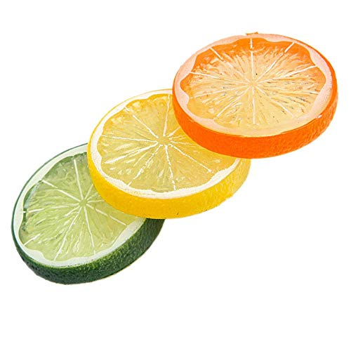 Plastic Fake Artificial Fruit Lemon and Lime Slices Child Kid Play Toy Food Teaching Props Kitchen Decor Display Pack of 12 (Lime Slices)