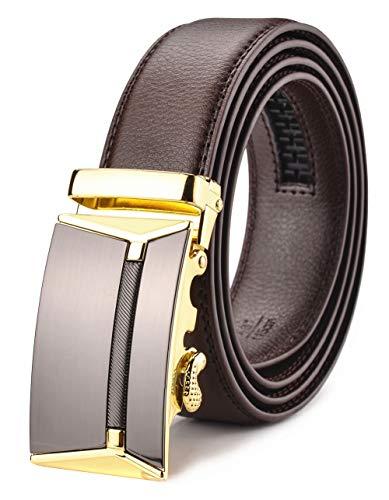 Xhtang Men's Ratchet Belt Automatic Buckle Genuine Leather belt 35mm Wide S (Brown Slides Mens)