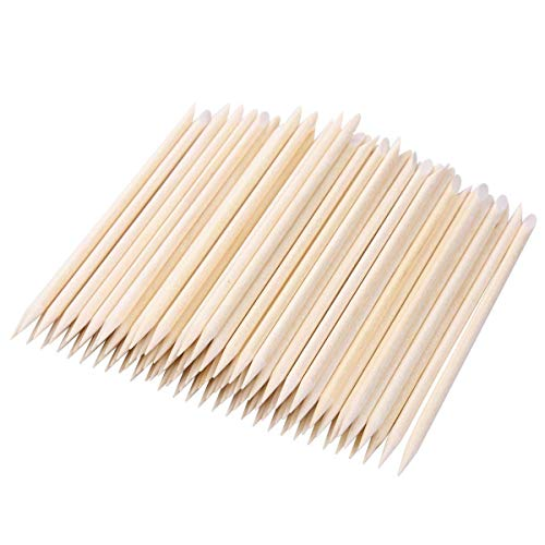 BTYMS 200pcs Orange Wood Stick Cuticle Pusher Remover Nail Art Manicure Pedicure Tool, 4.5in ()