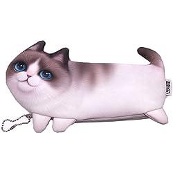Cute Animal 3d Cat lápiz pluma Caso cosmético maquillaje bolsa, gato beige (beige cat)