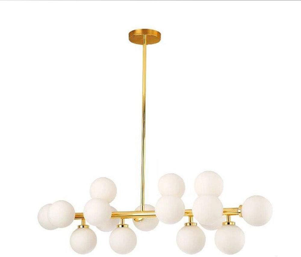 Liuqing Lámpara de araña de Hierro Forjado postmoderno de Moda 4G Granos de lámpara Colgante Decorativo Luz 16 Luz de Techo de Cristal Luz Sala de Estar Oficina Mesa de Comedor Iluminación del Hotel