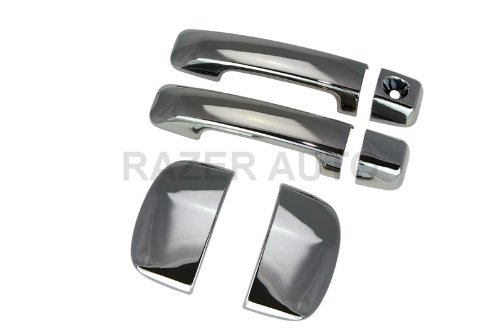 Razer Auto BLACK CHROME DOOR HANDLE COVER 4D for 2007-2014 TOYOTA TUNDRA DOUBLE CAB (Handle 2010 Double)