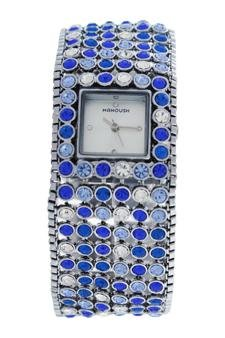 Watch Woman Manoush Movement Quartz Case Silver 28mm And Bracelet Silver Blue Made In Steel MSHMAB